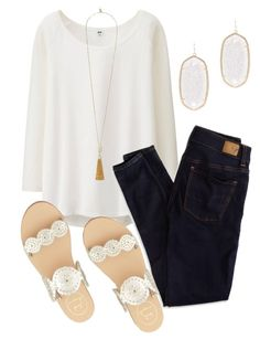 """""""Kendra Scott and Jack Rogers"""" by isabella813 ❤ liked on Polyvore featuring Uniqlo, American Eagle Outfitters, Vince Camuto, Kendra Scott and Jack Rogers"""