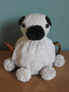 Knitted Pug Tea Cozy!
