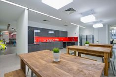 Tea point area in the heart of London. A 15,000 sq ft office design and build project by  www.oktra.co.uk.