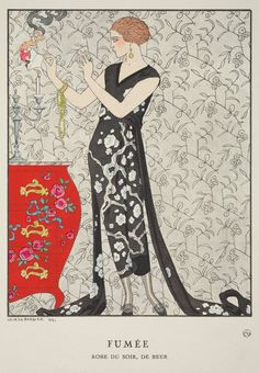 """Fumée - Robe du soir, de Beer,"" plate 8 from Gazette du Bon Ton, Volume 1, No. 1  French, January 1921"