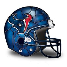 First-of-a-kind NFL-licensed Houston Texans helmet accent lamp. Inspired by the stained-glass artistry of Louis Comfort Tiffany. Nfl Football Helmets, Football Fans, Football Season, Houston Texans Football, Dallas Cowboys, Cincinnati Bengals, Pittsburgh Steelers, Denver Broncos, Amigurumi