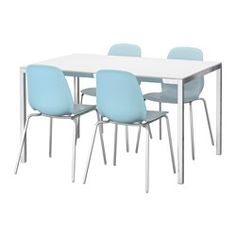 TORSBY / LEIFARNE Table and 4 chairs, glass white, light blue - IKEA