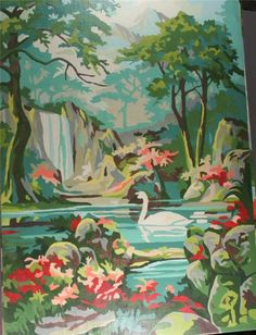 vintage paint by number, completed, finished, swans, forest, stream, fall, summer