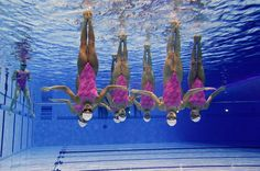 Cool underwater photo of synchronized swimmers. #London2012