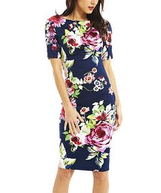Look what I found on #zulily! Blue & Pink Floral Bodycon Dress #zulilyfinds