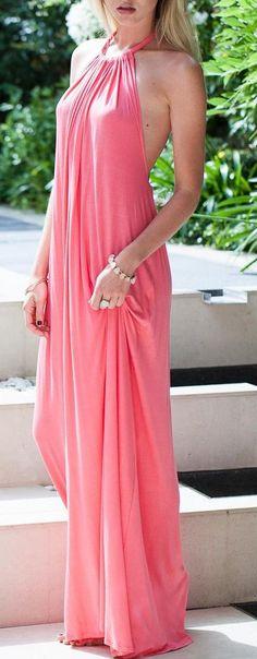 stunning pink maxi dress girly style chic fashion trends