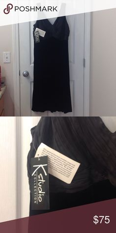 Sexy Black Dress 💋 Velvet Skirt NWT NWT Black satin chest area, velvet skirt. Size 14. K Studio Collection Dresses