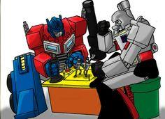 Optimus and Megatron playing a game of Rock'em Sock'em Robots.