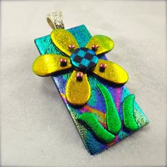 Daisy flower jewelry Fused dichroic glass by HanaSakuraDesigns