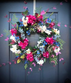 Your place to buy and sell all things handmade Faux Flowers, Dried Flowers, Pink Flowers, Spring Door Wreaths, Easter Wreaths, White Wreath, Floral Wreath, Dried Flower Arrangements, Fall Door
