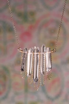 Quartz crystal necklace - Raw quartz - Natural crystal wands on a 16 inch 14k gold filled chain