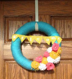 Bright Summer Yarn Wreath, Spring Yarn Wreath with Burlap Banner, Felt Flower Wreath, by rockstar wreaths