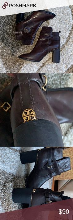 "619fd39af5c355 Tory Burch Kayden Boots Tory Butch ankle boots with 3"" block heel. Golden  Logo"