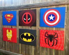 "Superhero wall art 16""x20"", Superhero canvas art, Custom and hand painted, wall decor- Batman, Superman, Spiderman, Dead Pool..."