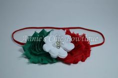Christmas Baby Headband Green Red White by AnniesChicBowtique, $7.95