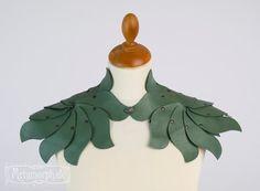 Sage green leather shoulder piece Elf collar Shrug Shoulder armour Shoulder accessories Fairy leaves fantasy fashion Larp Burning Man on Etsy, $195.00