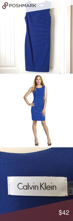 """Calvin Kline Sheath Dress Blue Calvin Klein Sheath dress with pleated sides. Approximately 37"""" in length and has a zipper that goes down to the mid/low back with eye-hook closure. Only worn once to a wedding and is in perfect condition! Calvin Klein Dresses"""