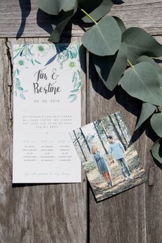 Wedding Stationery Tim & Bertine - ontwerp door leesign.nl #leesign #stationery #wedding #botanical #green #eucalyptus #plants #urban #trouwkaart