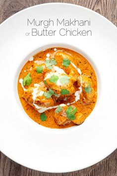 Butter chicken or Murgh Makhani is the classic Indian, grilled chicken in a rich gravy sauce often thickened with nuts and enriched with ghee and in this case sour cream. Made with spices from the store cupboard this is a great weeknight meal Cooked Chicken Recipes, How To Cook Chicken, Indian Food Recipes, Asian Recipes, Ethnic Recipes, Indian Chicken Gravy Recipe, Butter Chicken Curry, Desi Food, India Food