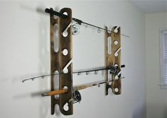Wall mounted Sport Fishing Rod Holders in Black Walnut