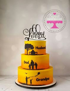 Silhouette Birthday Cake With Sunset Background Sweetobsessionscakeco