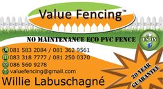 Contact Details: Willie Labuschagne Value Fencing Ballito Calcium Carbonate, Fencing, South Africa, Group, Fences