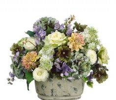 Dahlia Rose and Hydrangea Silk Floral Centerpiece in Blue and Cream - ARWF1217