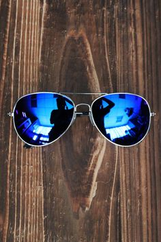 Electric Blue Mirrored Aviators