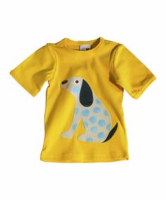 This Yellow & Blue Polka Dot Dog Tee - Infant & Toddler by Sam and Sydney is perfect! #zulilyfinds