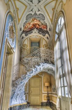 Art Nouveau Stairs - Palazzo Biscari by 23 aprile dalle ore alle Invasore: St. Architecture Antique, Beautiful Architecture, Beautiful Buildings, Art And Architecture, Architecture Details, Russian Architecture, Grand Staircase, Staircase Design, Double Staircase