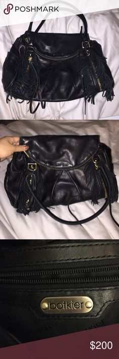 """Botkier fringe handbag Black soft leather handbag with fringe detail. Like new condition, only used a handful of times. Comes with dustbag and original receipt. Has inner zip compartment and two zipper compartments on the front where the fringe is. """"Morgan Fringe Satchel"""" as seen on Vanessa Hudgens.   *small tear on inside from my puppy :) cannot be seen when worn/closed!... lowered price. Botkier Bags Satchels"""