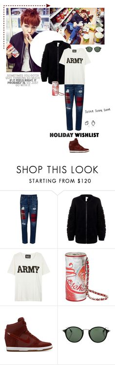 """Warning! Love hurts."" by createjewels ❤ liked on Polyvore featuring Tortoise, Shae, NLST, Melissa, Moschino, NIKE, Ray-Ban and Again"