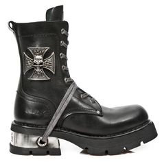 New Rock Boots Black Leather Biker Boots with Skull Cross Badge - 1623 Boots