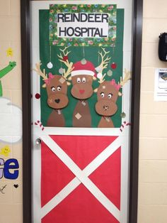 Christmas Door Decoration Ideas For Nursing Home Nurse Office Decor, School Nurse Office, Nurse Decor, School Nursing, School Secretary Office, School Door Decorations, Office Christmas Decorations, Christmas Ideas, Christmas Crafts