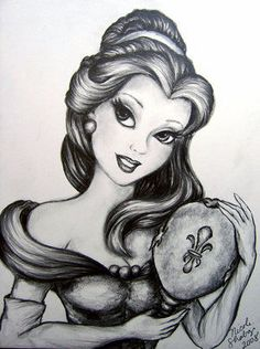 Beautiful belle in black and white arte disney, disney magic, disney disney, punk Disney Belle, Princesse Walt Disney, Disney Disney, Punk Disney, Tinkerbell Disney, Fera Disney, Arte Disney, Disney Magic, Disney Artwork