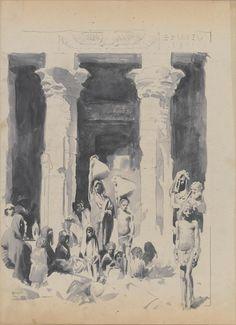 John Singer Sargent | Nubians in front of the Temple of Dendur (from Scrapbook) | The Met