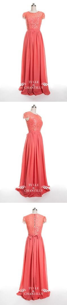 d440e3cb6 dark coral lace and chiffon bridesmaid dresses 2016 Long Bridesmaid Dresses,  Bridesmaid Dress Colors,