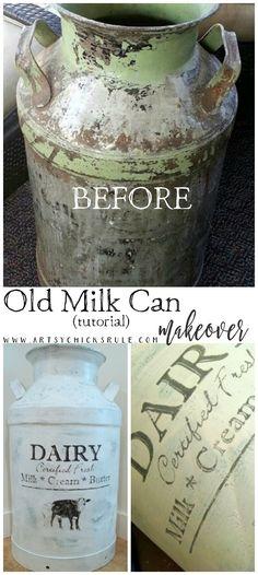 Old Milk Can Makeover TUTORIAL!!! artsychicksrule.com #milkcan #antiquemilkcan