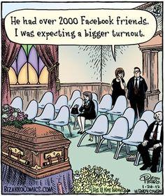 Funny Facebook Friends Funeral Cartoon