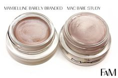 Mac Paintpot Bare Study vs. Maybelline Barely Branded Color Tattoo Metal - Review and Swatches #dupe #maybelline #mac
