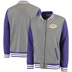 Los Angeles Lakers Fanatics Branded Letterman Timeless Full-Zip Varsity Jacket - Gray - $59.99