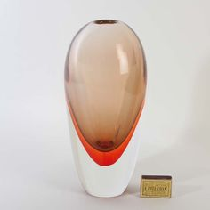 Murano glass vase Archimede Seguso  sommerso - egg shape orange Discover us: http://stores.ebay.com/design-and-arts