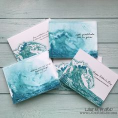 **Video:  Layered Waves – The Ton's Summer 2017 Release Blog Hop  Layered Waves Card Set  FULL video on my youtube channel (linked below).  If you have 5 minutes to spare, I recommend checking out the full video.  Techniques covered: Layered stamping, distress inks, foiling with no heat, adding texture with gesso, watercoloring.   FULL video:  https://youtu.be/IkzMSCFkKKA Blog post:  http://www.laurelbeard.org/video-layered-waves  #laurelbeard #simplycardmaking @thetonstamps #handmadecards…