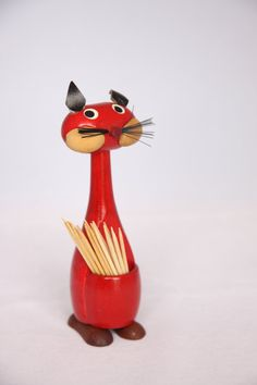 Mid Century red wooden cat toothpick holder by hipposdream on Etsy, €15.00