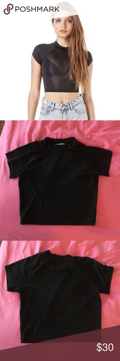 UNIF black plex crop top M/L very stretchy! worn and hand washed about 3x. perfect condition. cheaper on Ⓜ️ercari. UNIF Tops Crop Tops