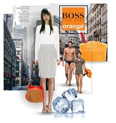 """""""Orange crush"""" by isteely ❤ liked on Polyvore featuring BOSS Hugo Boss, HUGO, BOSS Black and Lux-Art Silks"""