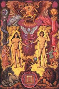 Alchemy Symbol with the astrological sing of Gemini Ruled by the planet Mercury Man and woman represents Gemini originally not two men. The mind is made up of 2 whole spheres, one masculine in nature and one feminine Goddess Rising LLC