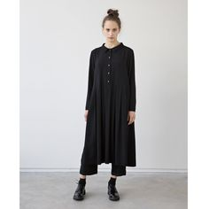 This dress is amazing...shame it's silk, or I would be in it right now... muku - Blak Silk Dress with Pleats and Collar