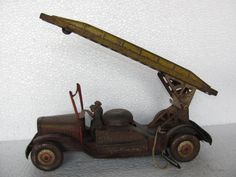 Huge Vintage Windup Fire Brigade Truck Tin Toy, Great Britain