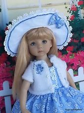 """5 piece Blue & White Dress by Eileen for Effner Little Darling 13"""" doll"""